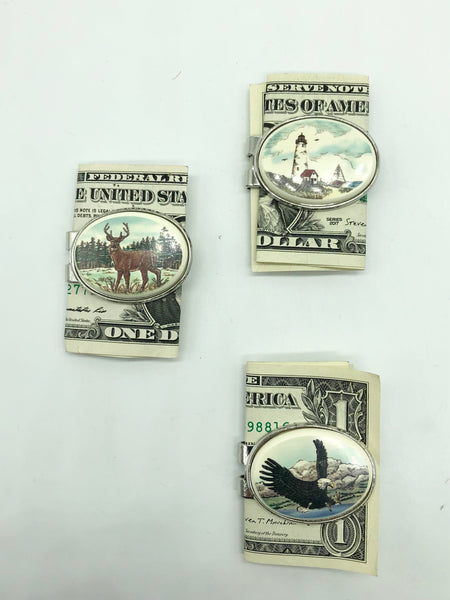 Money Clip Oval Reproduction Scrimshaw