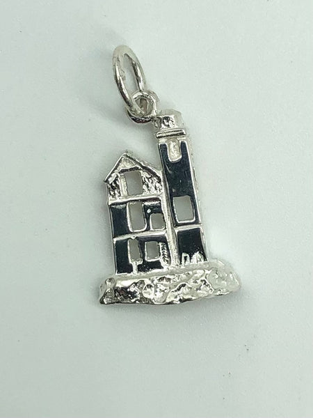 Round Island Lighthouse Sterling Silver Pendant/Charm