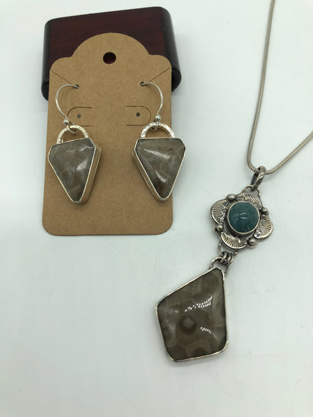 Petoskey and Leland Blue Glass Sterling Silver Pendant