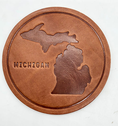 State of Michigan Leather Coaster