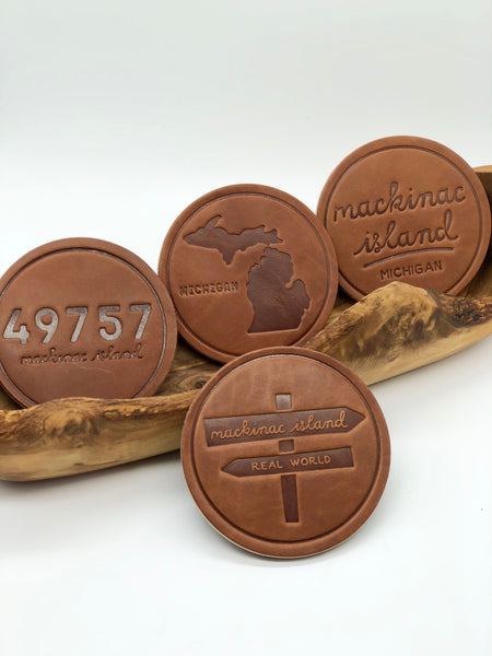 Set of Mackinac Island Michigan Leather Coasters