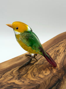 Green Finch Lampwork Figurine