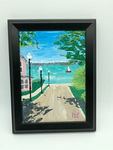 """Lets Sit on the Boardwalk"" original painting"
