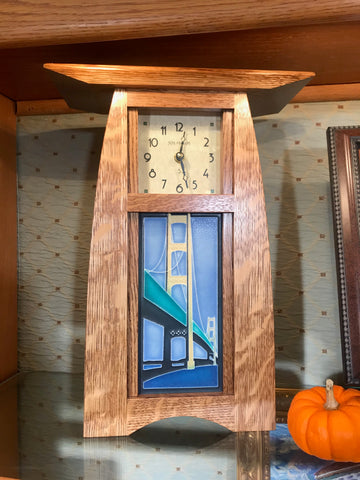 Craftsman Oak Clock with Mackinac Bridge