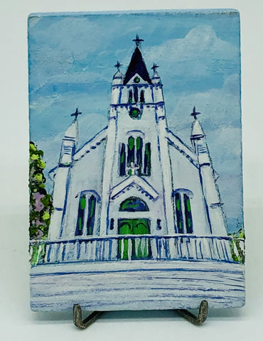 Ste. Anne Church Miniature Acrylic Painting