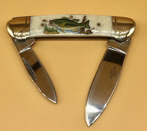 Scrimshaw Bass Bone Knife