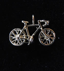 Sterling Silver Charm: Bicycle Pendant