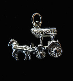 Sterling Silver Charm: Horse and Carriage Pendant