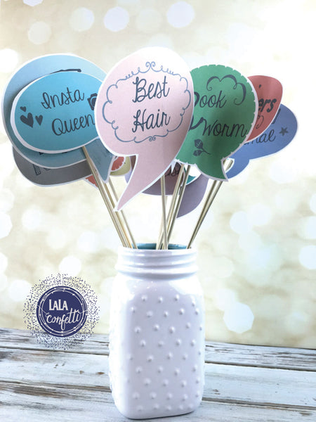 Graduation Photo Booth Props  | Print your own yearbook style photo booth props with this free download from LaLa Confetti.