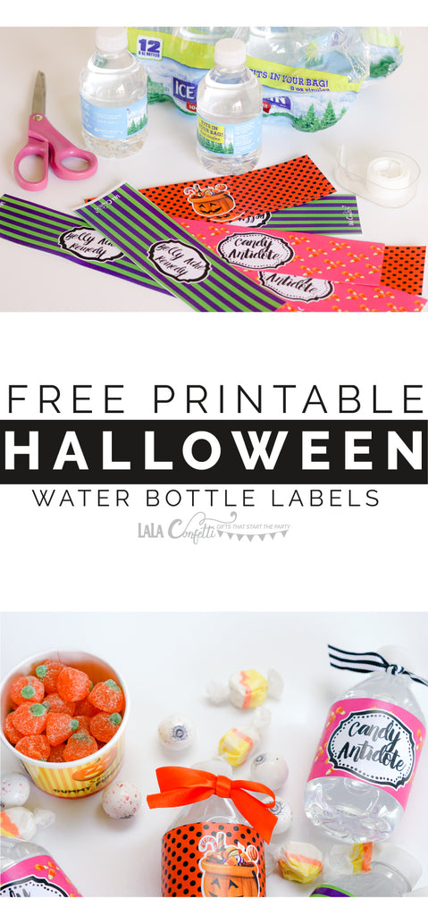 Looking to give out some non candy Halloween treats this year? Grab this free set of water bottle labels & hand out mini bottles of water instead of a handful of candy this year.