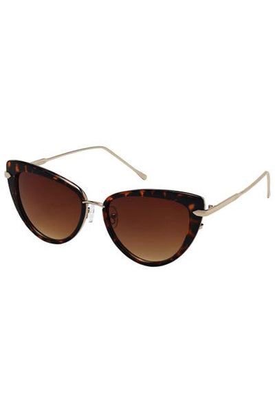 Brown Tortoise Cat's Eyes Sunglasses