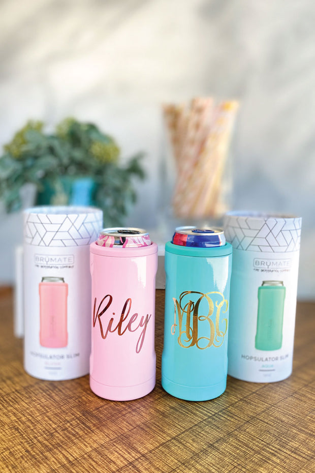 personalized brumate skinny can cooler