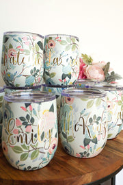 Floral Bridesmaid Wine Tumblers