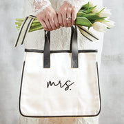 Mrs. Mini Canvas Tote Bag with Leather Handles
