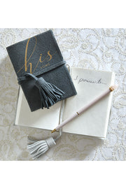 His & Hers Suede Leather Wedding Vow Books