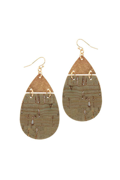 Leather and Metal Teardrop Earrings - Olive & Gold