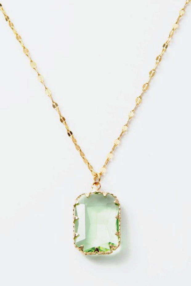 gold and mint colored crystal necklace