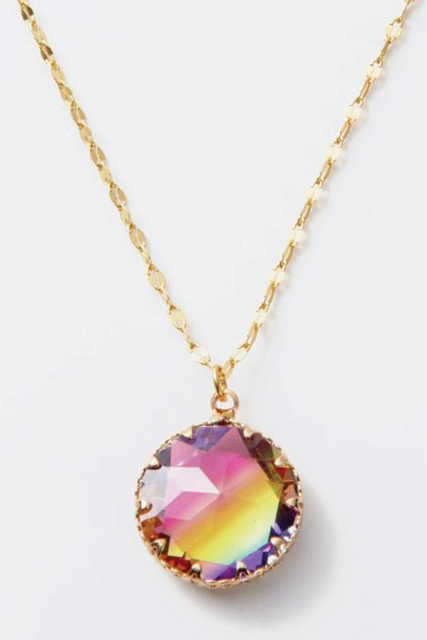 gold and rainbow colored crystal pendant necklace