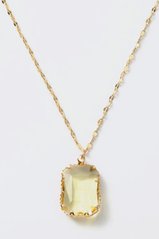 yellow and gold crystal necklace