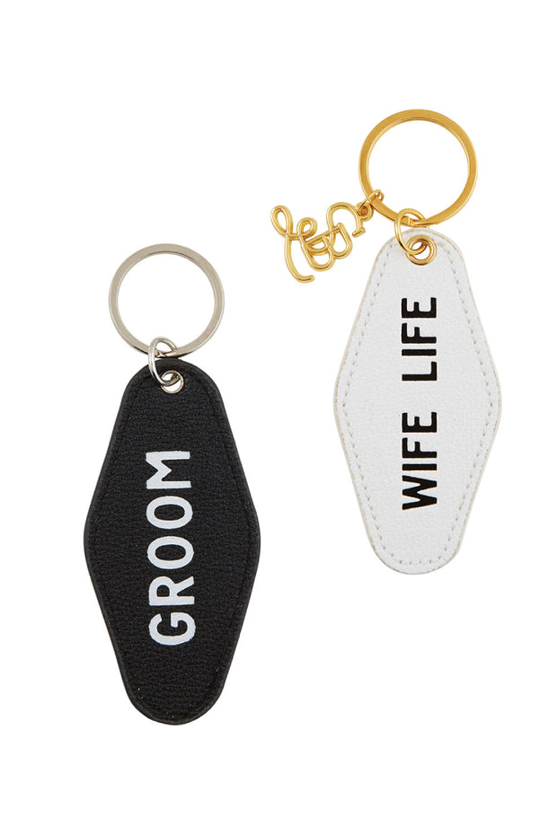 Newlyweds Motel Tag Key Chain