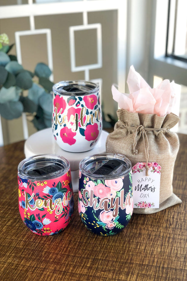 Personalized Floral Drink Tumblers