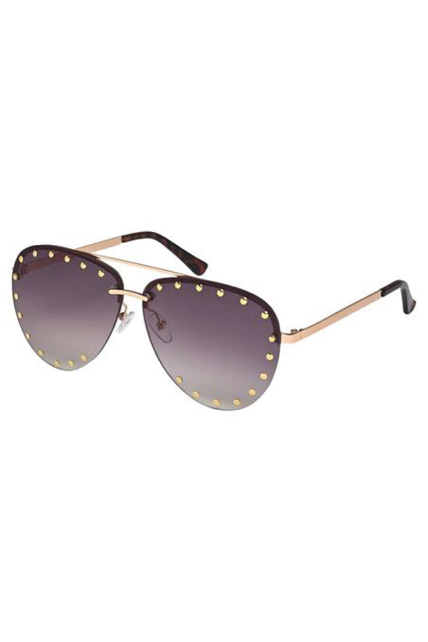 Rose Gold Studded Sunglasses