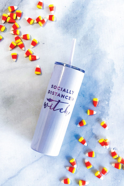 Socially Distanced Witch - 20 oz Skinny Tumbler