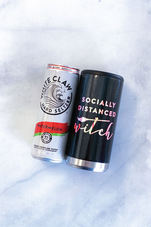 Socially Distanced Witch Skinny Can Holder