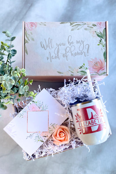 Bridesmaid Proposal Box with Wine Tumbler