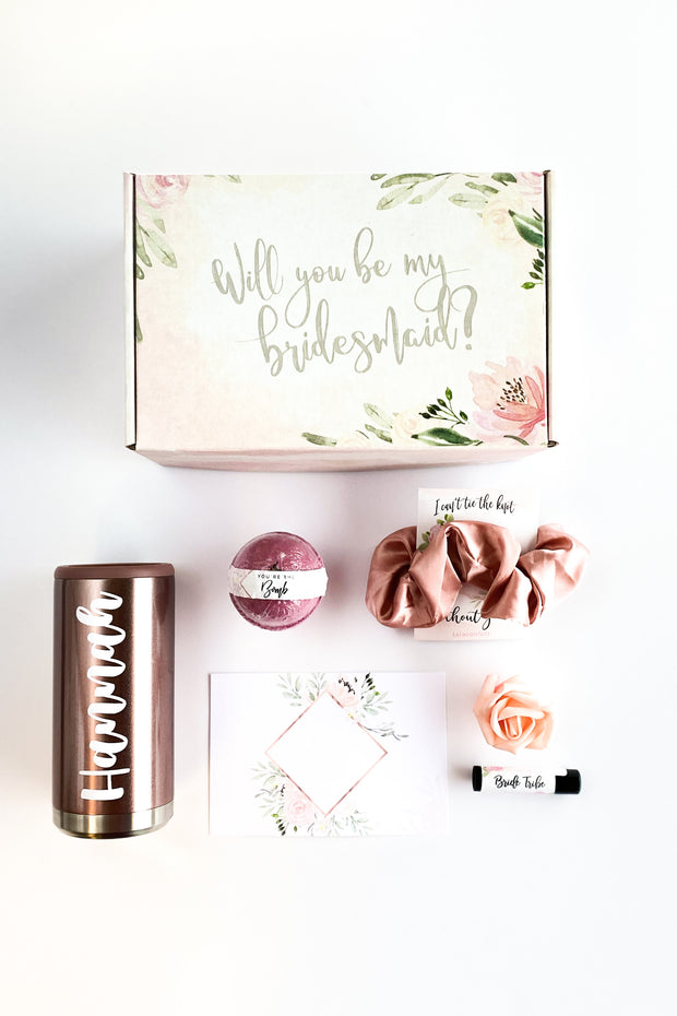 Bride Tribe Proposal Box with Skinny Can Cooler