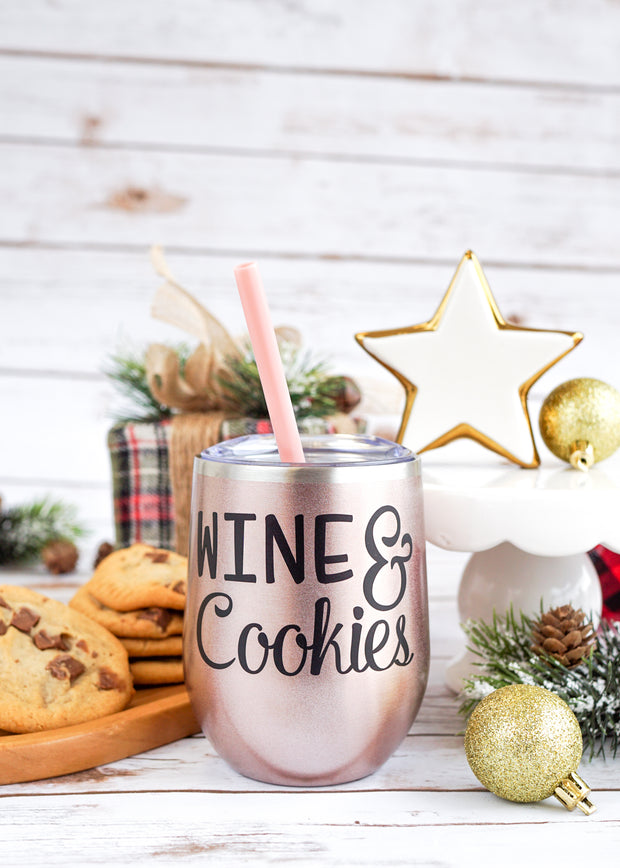 Wine & Cookies Wine Tumbler | Funny Christmas Wine Glass