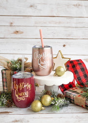 Christmas Queen Wine Tumbler | Christmas Wine Glasses