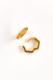 Hexagon Earring Huggies