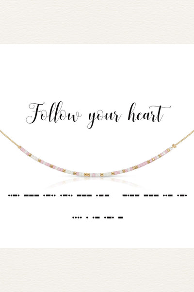Morse Code Necklace - Follow Your Heart