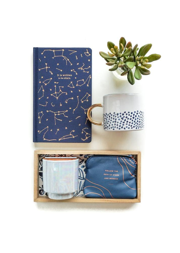 It is Written In The Stars Gift Set with Iridescent Candle and Hand Painted Coffee Mug