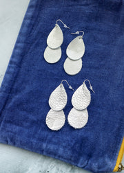 Double Waterfall Leather Earrings - Silver