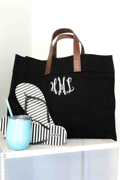 All the Things Everyday Tote Bag with Leather Handles
