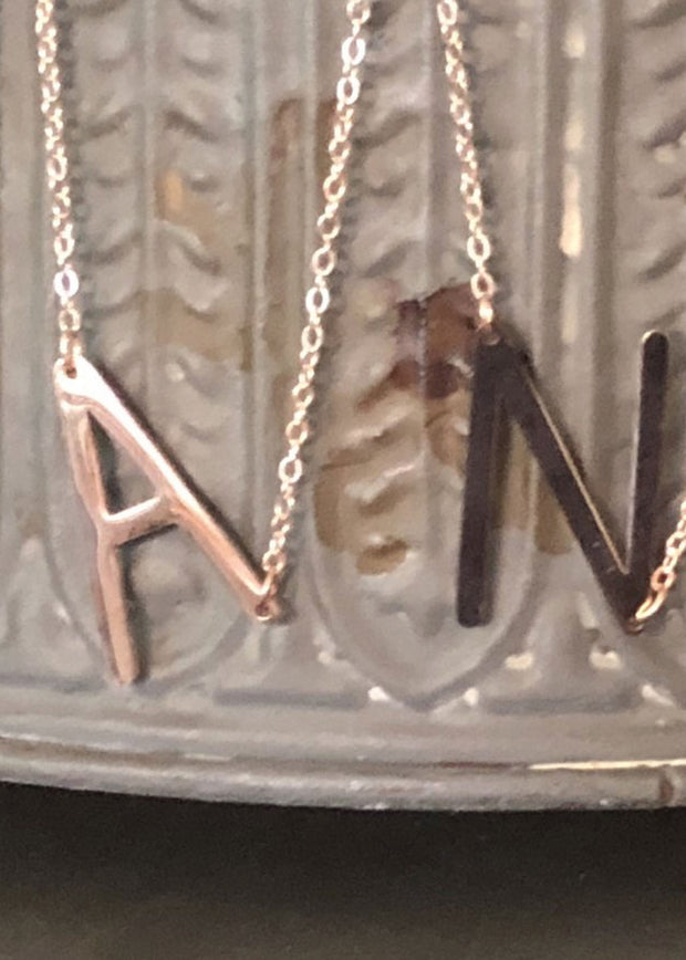 Rose Gold Initial Letter Necklace
