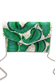 Sequin Clutch - Palm Leaf