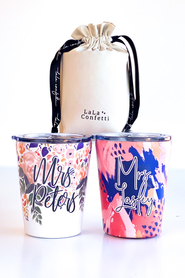 Floral Stainless Steel Coffee Tumblers