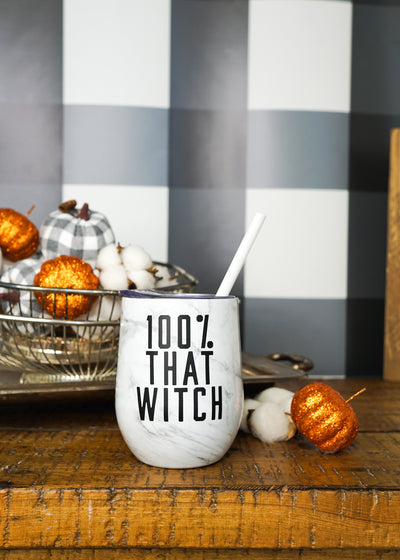 100% That Witch Wine Glass