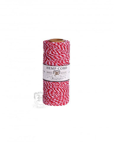 Red and White Hemp Cord 50g 20#
