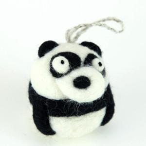 Felted Panda Ornament