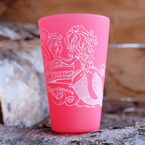 Mermaid & Octopus Pint set in Red
