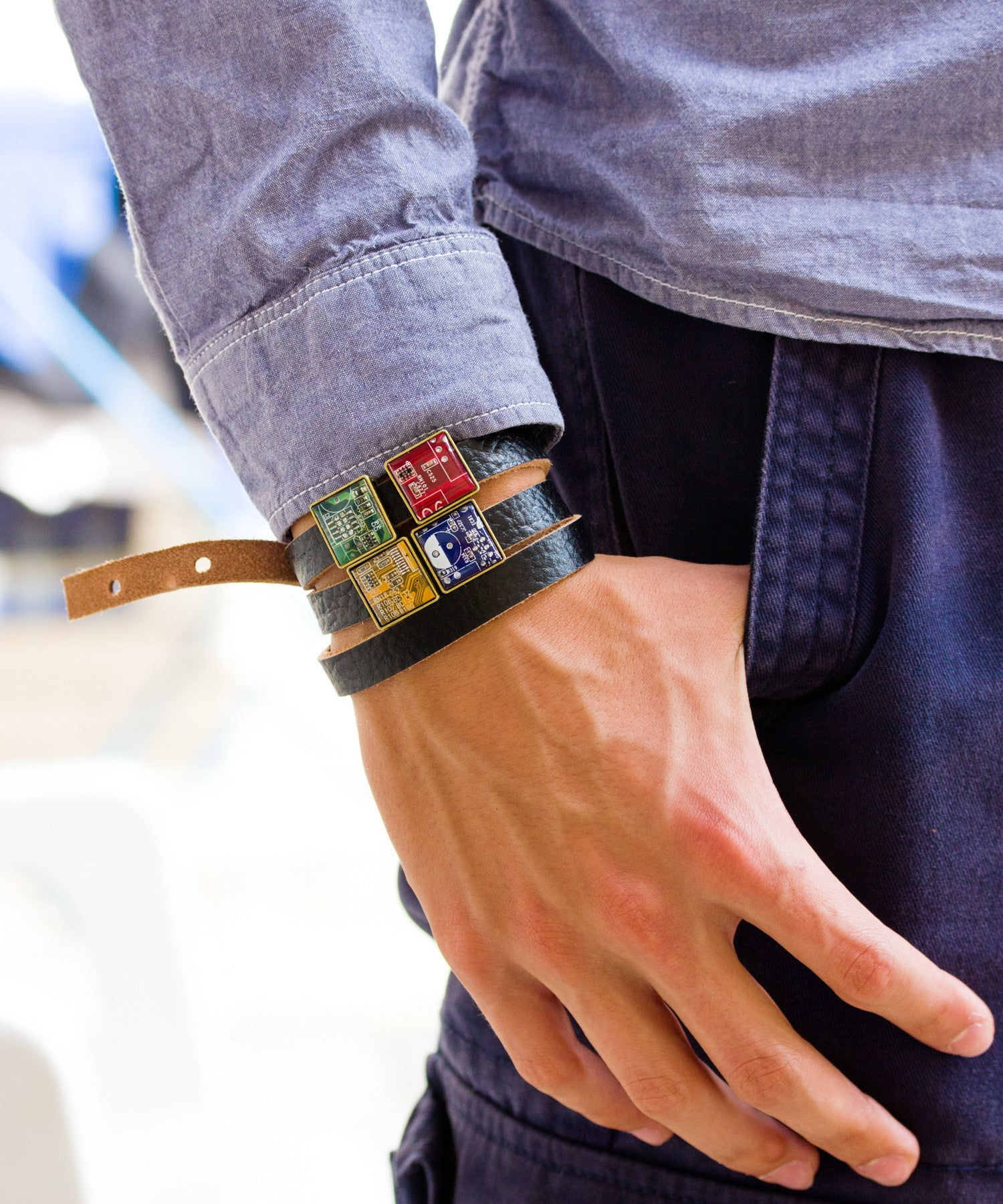 Leather bracelet with circuit board beads - your new best-loved street style accessory