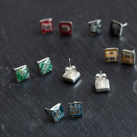 Sterling Silver Circuit Board Stud Earrings, square