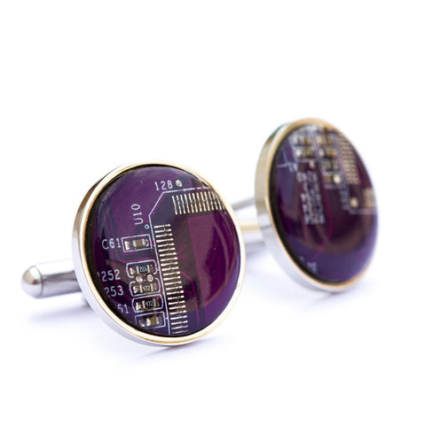 Gift for him: circuit board cufflinks by Recomputing