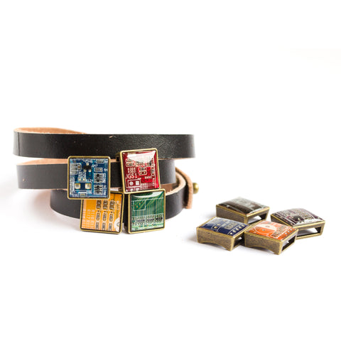 Wrap Bracelet with Circuit Board Beads