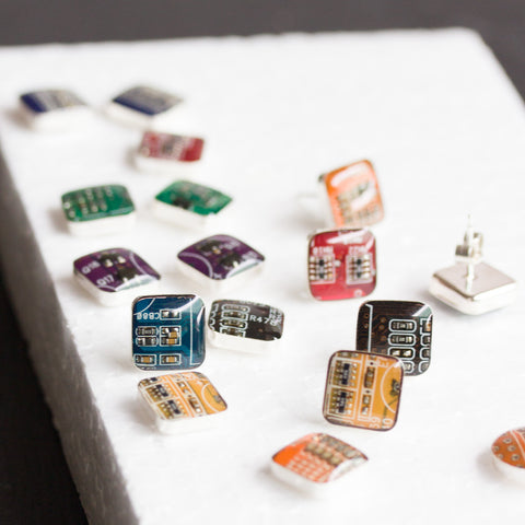 Sterling silver Circuit Board Square Stud Earrings