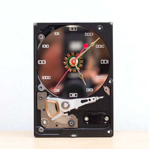 Geeky clock made of recycled Computer Hard Drive